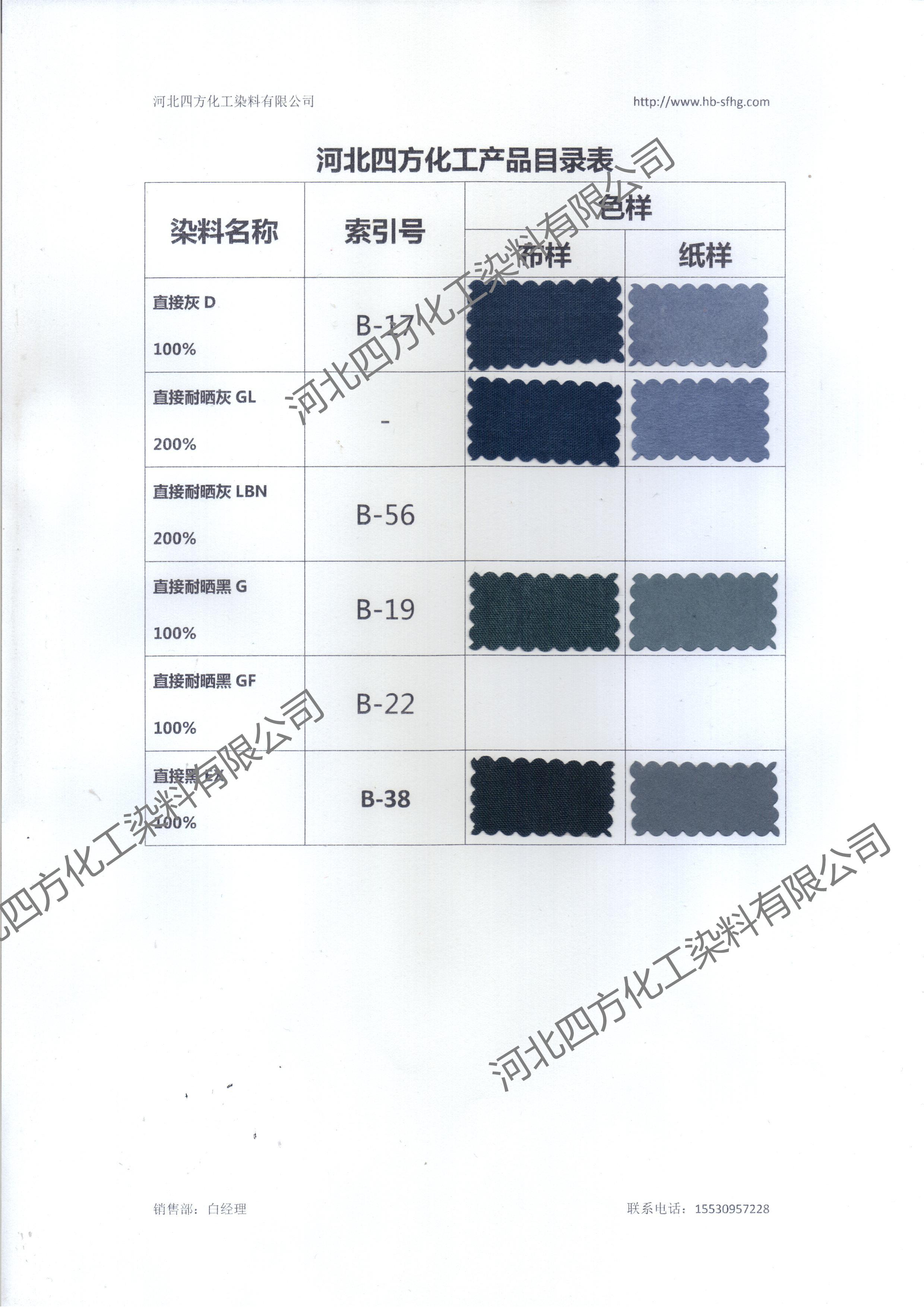 河北四方化工直接染料黑色系色卡